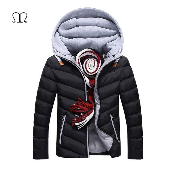 Casacos com capuz dos homens sólidos casuais casacos homens inverno zipper up grosso fino bombardeiro casacos quentes outerwear windbreaker marca clothing