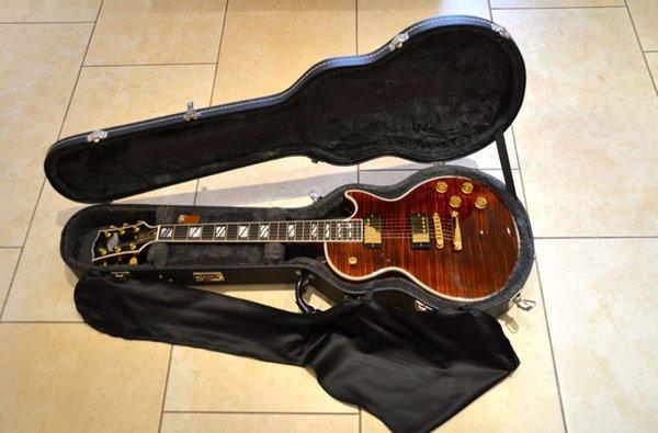 Custom Shop Tiger Stripes Brown Burst Electric Guitar Flame Top Gold Hardware Chinese handmade guitar