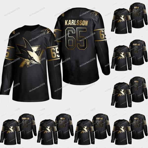 2019 Maglia Golden Hockey San Jose Sharks Erik Karlsson Evander Kane Joe Pavelski Brent Burns Logan Couture Joe Thornton Dillon