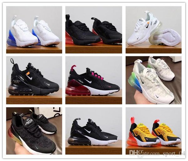 Nike Air MaX 270 youth Running Shoes kid Sneakers air 27c run out door Sports shoe 270s Trainer Air Cushion Surface size 28-35