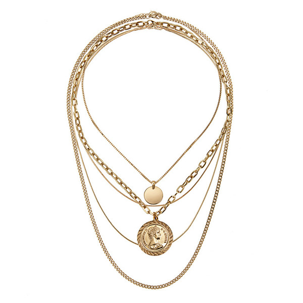 Rongho New design Multi layers Metal Human head chokers necklace Gold coin circle pendant necklace Vintage chains necklace
