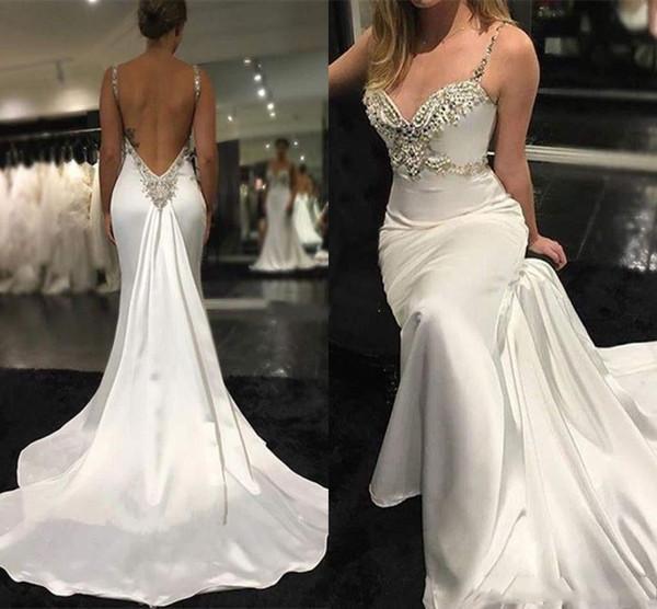 Sexy Backless Crystals Beaded Bridal Dress Sweep Train Beach Wedding Gowns Cheap Modern Spaghetti Mermaid Wedding Dresses