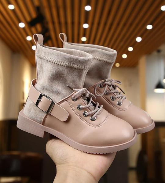 NOUVEAU 2019 Filles Bottes en cuir garçons Chaussures Printemps Automne Cuir Enfants Bottes Tout-petits enfants hiver chaud