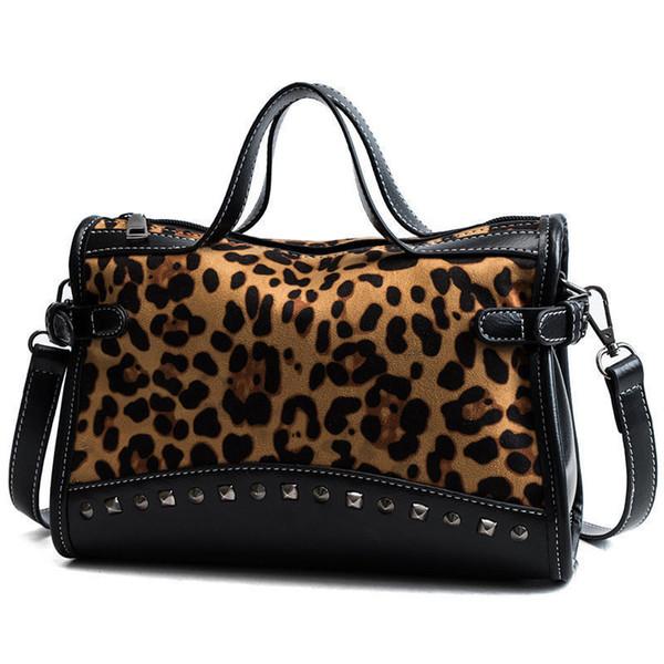 New Rivet Chain Bags Faux Leather Suede Cross Body Bags For Women Velvet Large Hand Bag Leopard Print Shoulder Handbags