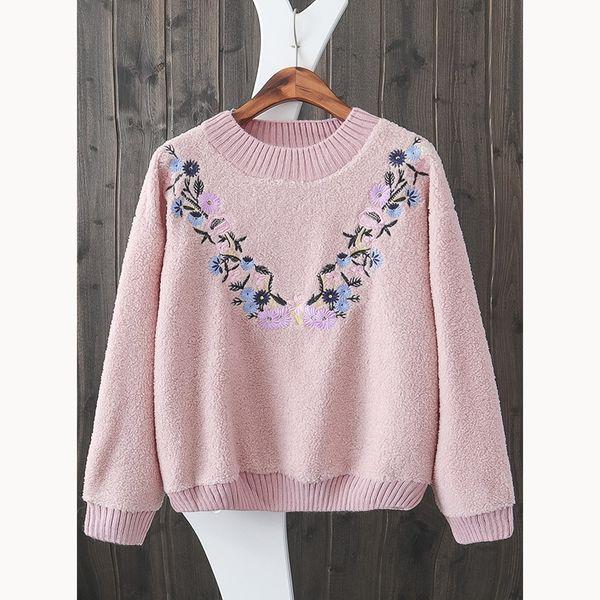 2018 Autumn Casual Women Hoodies Sweatshirts Long Sleeve Lamb Embroidery Elegant Floral Warm Thick Sweatshirt