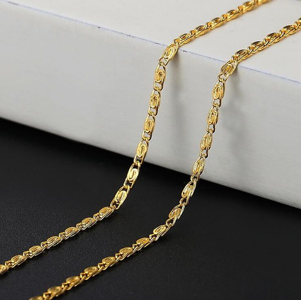 18K gold plated smooth snake chains necklace 2MM snake chain size 16 18 20 22 24 inch Chain Necklace Jewelry Wholesale