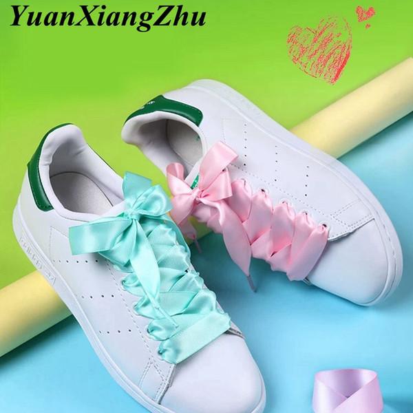 New Shoelaces Satin Silk Ribbon Shoelaces White Sneaker shoes lace Canvas shoe laces 2cm Width 80cm/100cm/120cm Length Shoelace