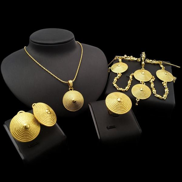 Yulaili высокого качества Фабрика Пользовательские чистого золота способа цвета Эфиопии Ювелирные наборы Аксессуары Африканский Нигерия Свадебные Украшения