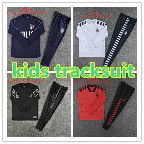 2018 2019 boy Kids kit chándal traje de entrenamiento real madrid Manchester Italia hombre ciudad niños Estados psg pogba MBAPPE Fútbol conjuntos de ropa deportiva