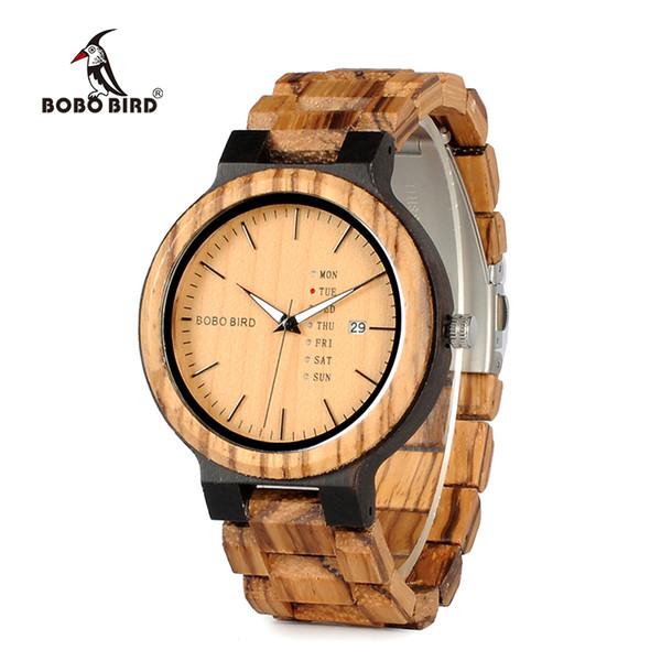 Relogio masculino BOBO VOGEL Holz Uhr Herren erkek kol saati Woche Anzeige Datum Quarz Uhren aus Holz akzeptieren Logo Drop Shipping