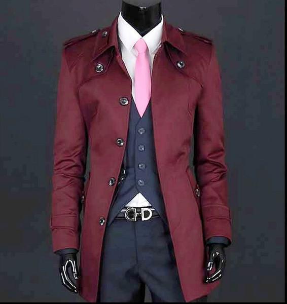 Wine red black beige Men's clothing spring thin men coat long slim medium-long casual men's khaki trench coat men plus size