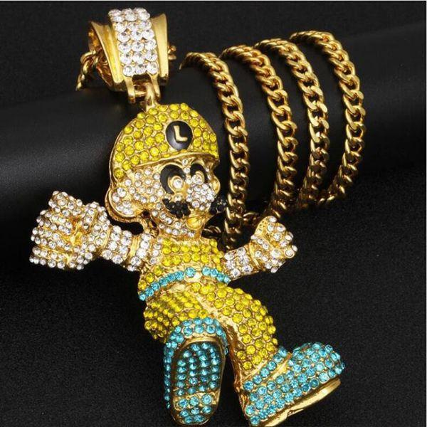 Fashion Cartoon Character Mario Big Pendant Necklaces Women Men Hip Hop Jewelry Statement Rhinestone Gold Long Chain Necklace