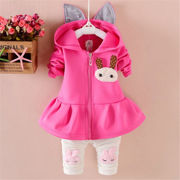 good quality spring autumn girls clothing set cartoon rabbit sport suit children clothing hoodies kids tracksuit girls clothes set