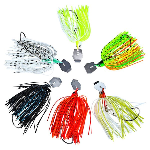 Hot Sale Fishing Buzzbait Lures Fringed Beard Composite Sequins Simulated Bait Colorful Zinc Alloy Hook Simple Operation Mino Type Fish Hook