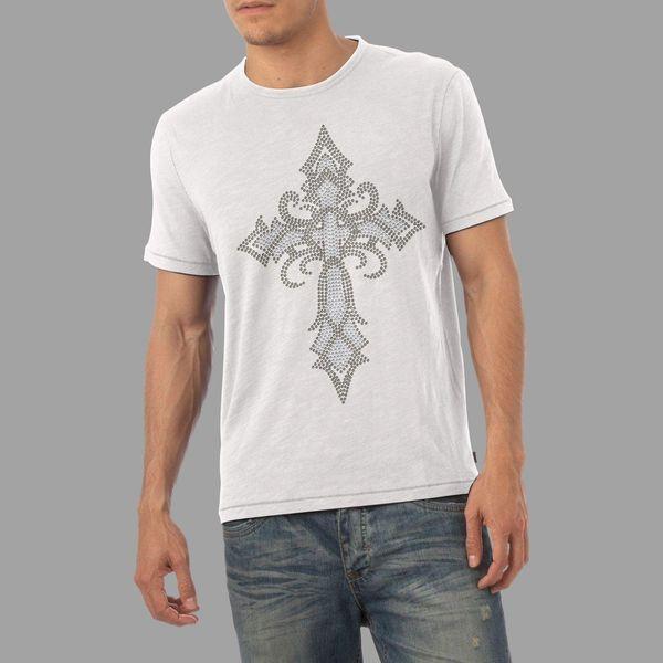 T-Shirt Diamante con strass croce medievale da uomo