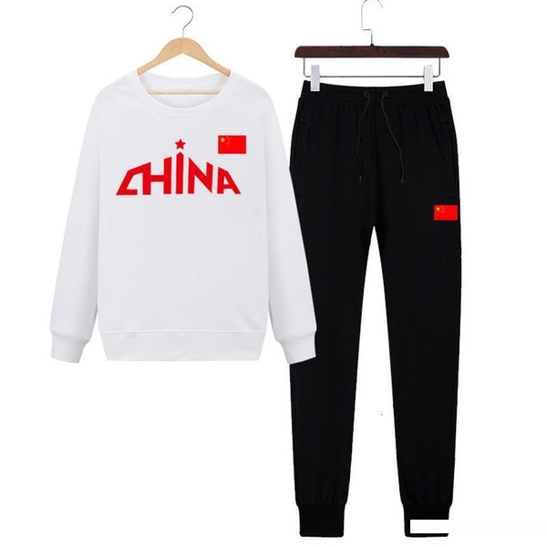Man 2019 Autumn Long Sleeve Trousers Long Sweater Twinset Chinese Team Motion Suit Trend Comfortable
