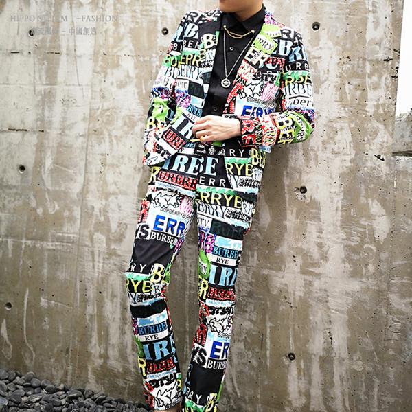 M-6XL !! Personalidade impressão letras cor hip hop estilo terno terno versão coreana do cantor boate host terno maré.