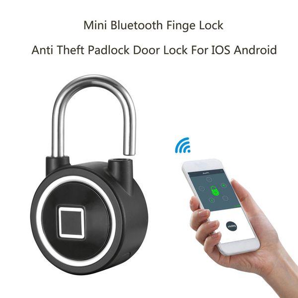 best selling Mini Bluetooth Fingerprint Lock Waterproof IP65 Keyless Lock Unlock Anti-Theft iOS Android APP control door cabinet padlock