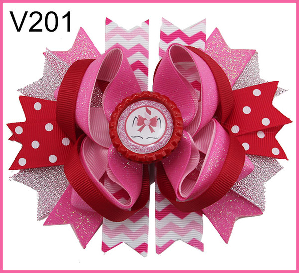 free shipping 32pcs valentine's day sprinkles hair bows popular cheer bows holiday hair clips valentines day gift--B