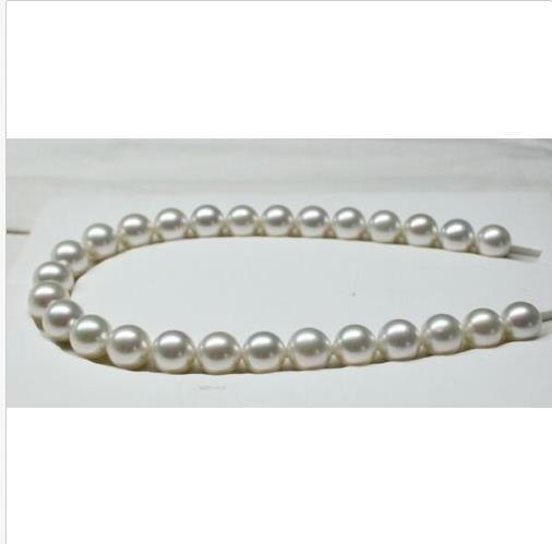 """18""""7-8mm natural south sea genuine white round pearl necklace 14k"""