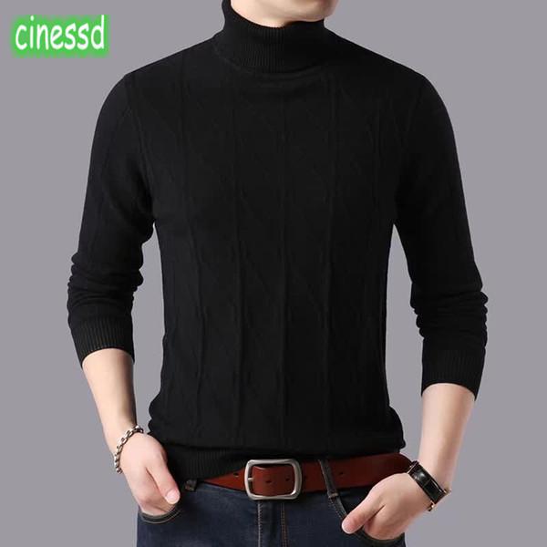 Cinessd de alta calidad 100% auténtico de las ovejas de lana suéter de la rebeca de la ropa de gama alta de los hombres gruesos de la ropa de la camisa caliente de los hombres de