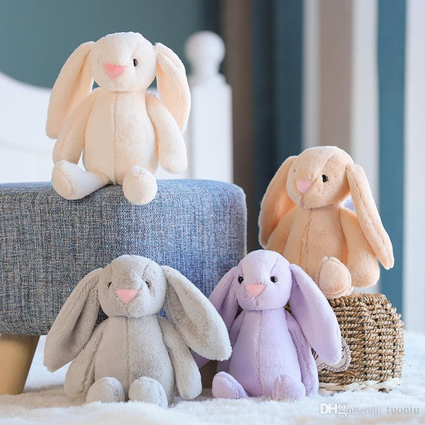 5 colori 35cm soffice coniglio Giocattoli coniglio bambola di Pasqua orecchie di coniglio peluche Con Lunghi animali farciti giocattoli per bambini regalo all'ingrosso