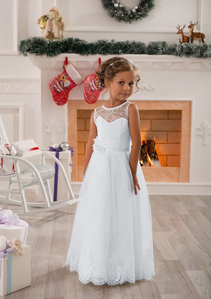 White Flower Girls Pageant Ball Gowns Lace Embellished A-Line Sleeveless Girls Wedding Party First Communion Dresses With Sash