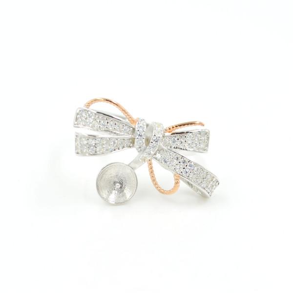 vendita all'ingrosso anello perline arco in argento sterling montare montature anello S925 regolabile in vendita per 9-10 mm perle PS4MJZ049