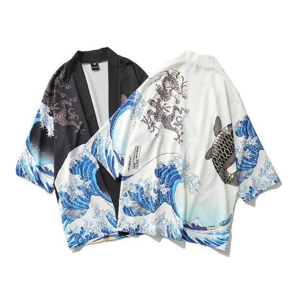 Chemises pour hommes Ukiyo-e japonais peignoir peignoir vague imprimé kimono kimono pour hommes et femmes en vrac chemise à manches sept points section mince