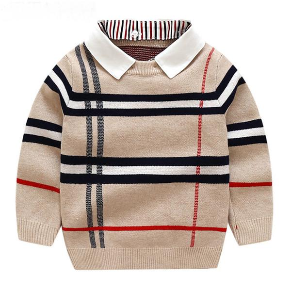 best selling Autumn Warm Wool Boys Sweater Plaid Children Knitwear Boys Cotton Pullover Sweater 2-7y Kids Fashion Outerwear