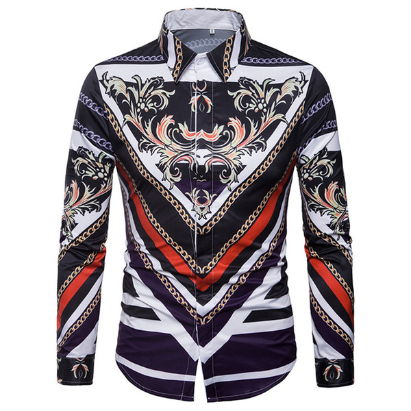 Young Man Novelty Print Shirt Club Party Costume Covered Button Men Tops Male Business Casual Floral Print Clothes Long Sleeve