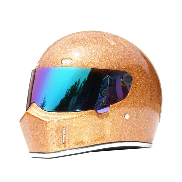 Exclusive Authentic Kart Car Safety Helmet Motorcycle Full Helmet Racing Riding Motocross Head Protector Helmet ATV-1 Flash Gold