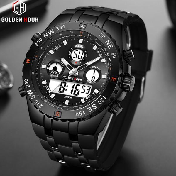 GOLDENHOUR Top Brand Dual Display Reloj de Los Hombres de Moda Correa de Silicona Para Hombre Relojes de Cuarzo Masculino Impermeable Deportes Relogio masculino