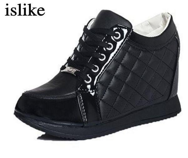 Dress Shoes Islike New 2019 Autumn Black White Hidden Wedge Heels Casual Women's Elevator High-heels Boots For Women Rhinestone