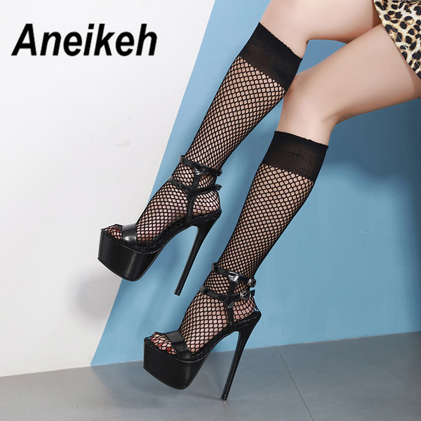Aneikeh Fashion Rount Toe Thigh High Boots Sexy Hollow Out Knee-High Boots Summer Mesh Shoes Women Sandals Dress Pumps