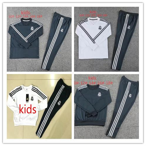 2 Stars Fr Paris Kids tracksuit Sets 2018 2019 Real Madrid Ronaldo kids Soccer Tracksuit Sets Jacket MBAPPE Ronaldo Football Training Suit