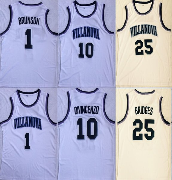 NCAA Villanova Wildcats #10 Donte DiVincenzo 1 Jalen Brunson 25 Mikal Bridges White Retro Jersey Stitched Basketball Jersey Free Shipping
