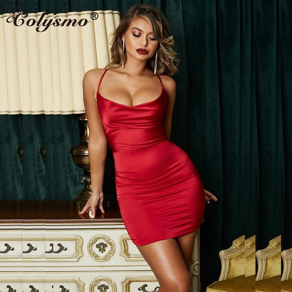 Colysmo Verano Estampado leopardo Vestidos de satén Mujer Fiesta Noche Sexy Corte escotado Vestido sin espalda Rojo Estiramiento delgado Vestido corto Vestido