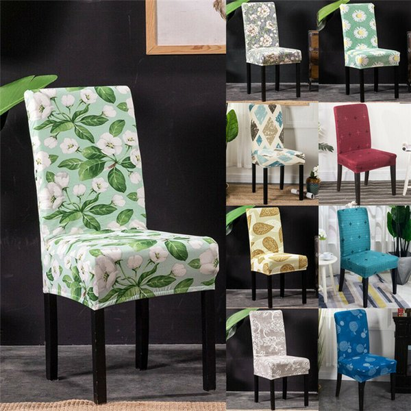 New High Stretchy Chair Cover Floral Print Universal Spandex Chair Cover Wedding Party Decor Multicolor
