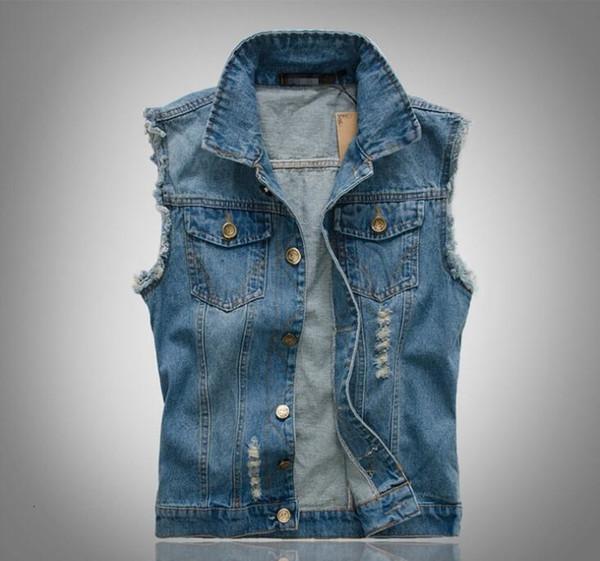 Atacado Moda de Nova Mens Denim Vest mangas Vintage jeans lavados colete Homem vaqueiro rasgadas Jacket Plus Size 6XL Asian