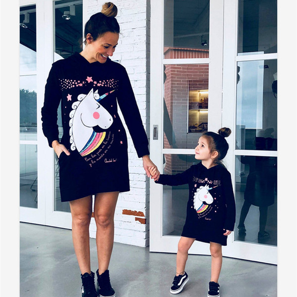 Mother Daughter Coat Dress Family Matching Christmas Sweaters Unicorn Shirts Girl Baby Autumn Clothes Mommy and Me Dress Hoodies