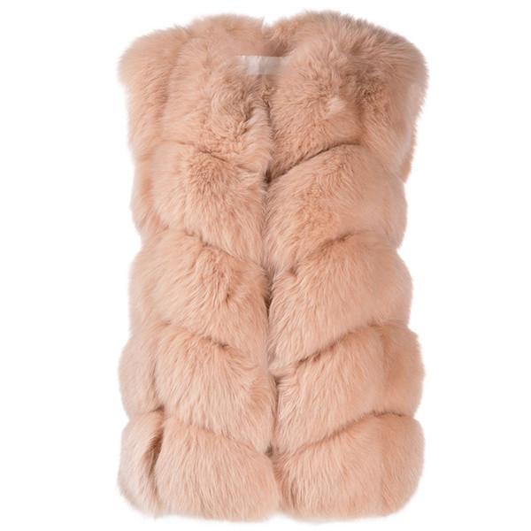 Fandy Lokar Faux Fox Fur Coats Women Fashion Artificial Fur Women Elegant Solid Sleeveless Jackets Female Ladies GT