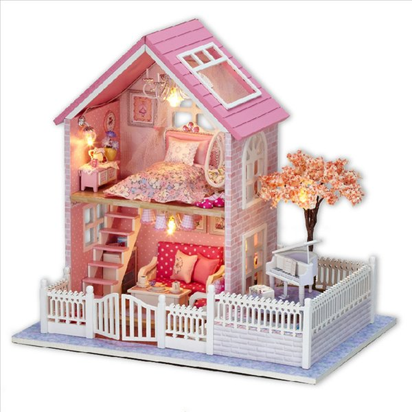 Pink Cherry Blossoms Dollhouse DIY Handmade Villa Model Miniature Assemble Doll House Creative Gift