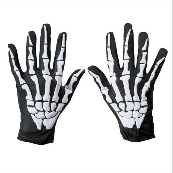 New fashionable polyester fabrics to make elastic skeleton Halloween gloves, hands, bones and ghosts festival performance props