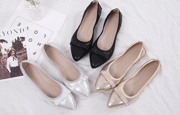 New Fashion woman bowtie Flats Ballet Floral Flat Shoes Women Designed Girl dress Pointed Toe Golden princess yoga Shoes Loafers