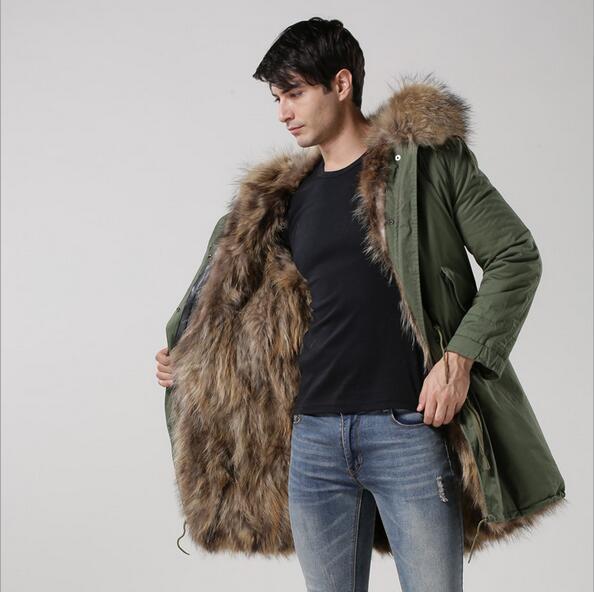 8fb3d0414aa35 4XL 3XL men fox fur parkas brown hooded fox fur lined cotton-canvas parka  Meifeng