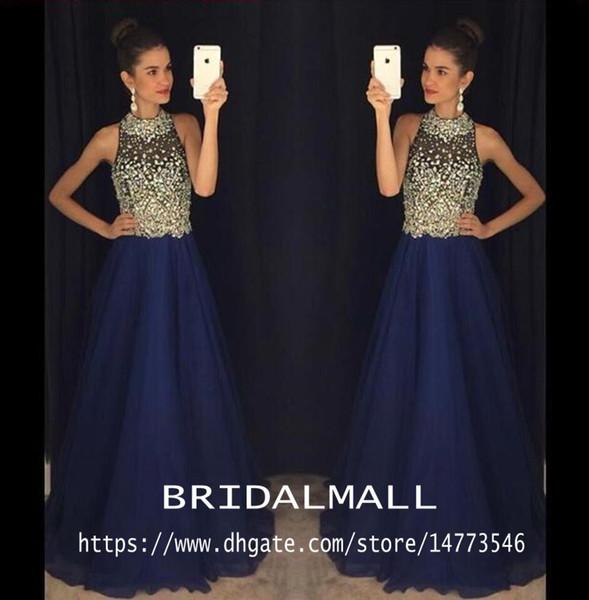 Marineblau Perlen Kristalle Chiffon Lange Abendkleider 2020 Sheer Halter Elegante Formale Abendkleid Kleider Für Besondere Anlässe Party Pageant