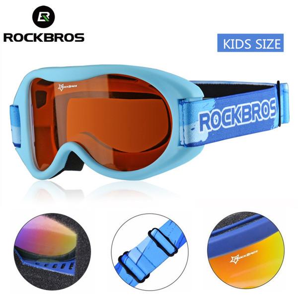 ROCKBROS Ski Child Goggles UV de doble capa Snowboard Kids Glass Winter Skiing Niños Eyewear TPU Frame Boys Girl Gafas de nieve