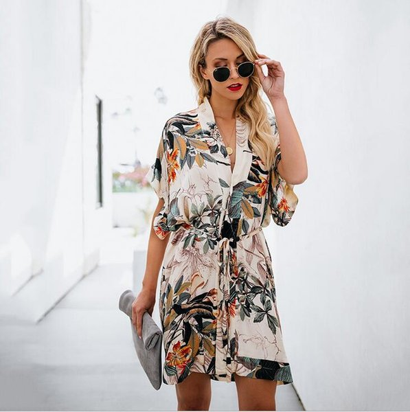 2019 Famous Fashion Designer Spring And Summer New Models Hot Women\u0027S Long  Skirt Printed V Neck Dress Plus Size Prom Dress Prom Dresses On Sale From