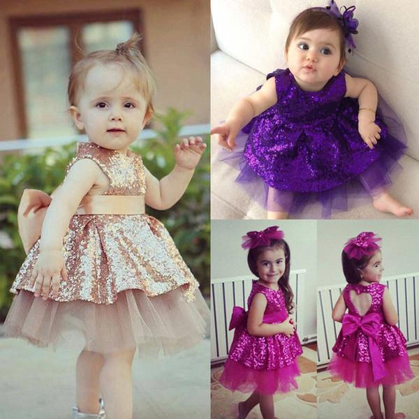 Prinzessin Kinder Baby Mädchen Pailletten Kleid Party Kleid Brautkleid Formale Bogen Kleider Ärmellose Mode Baby Kleidung